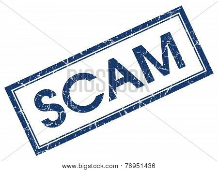 Scam Blue Square Stamp Isolated On White Background