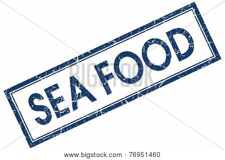 Sea Food Blue Square Stamp Isolated On White Background