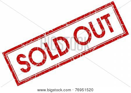 Sold Out Red Square Stamp Isolated On White Background