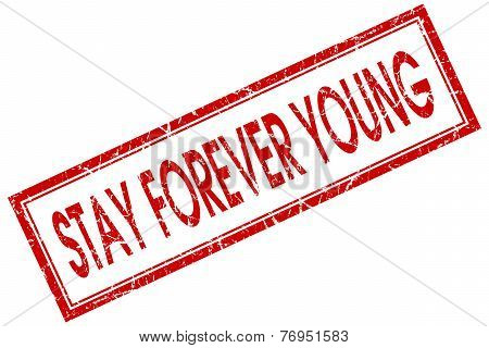 Stay Forever Young Red Square Stamp Isolated On White Background