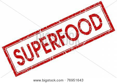 Superfood Red Square Stamp Isolated On White Background
