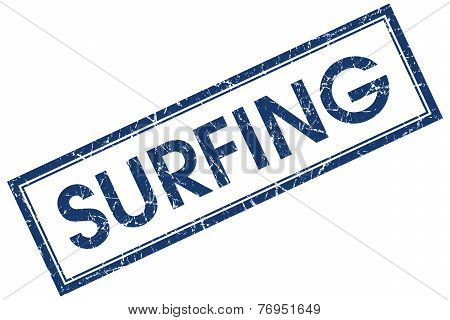 Surfing Blue Square Stamp Isolated On White Background