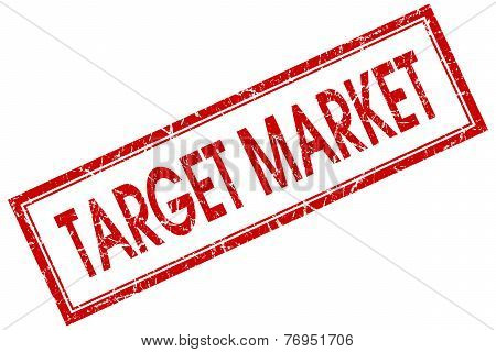 Target Market Red Square Stamp Isolated On White Background
