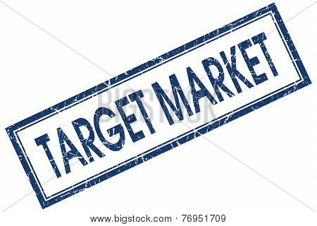 Target Market Blue Square Stamp Isolated On White Background