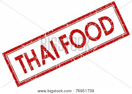 Thai Food Red Square Stamp Isolated On White Background
