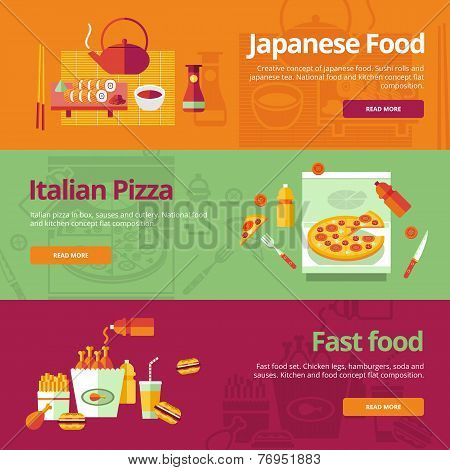 Set of flat design concepts for japanese food, italian pizza, fast food.  Concepts for web banners a