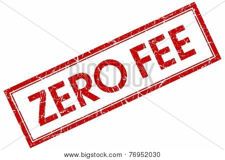 Zero Fee Red Square Stamp Isolated On White Background