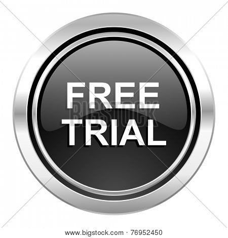 free trial icon, black chrome button