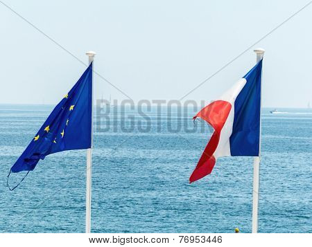 flags of eu and france, symbol photo for partnership, diplomacy, foreign policy