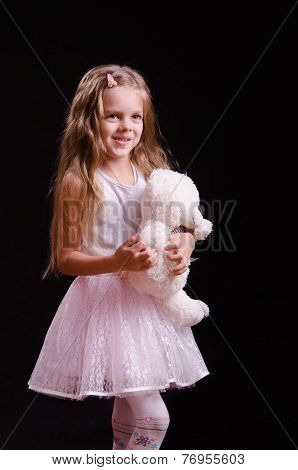 Joyful Girl With Teddy Bear