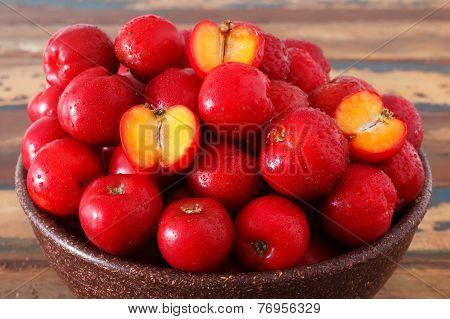 Red Acerola - Malpighia Glabra, Tropical Fruit  In Wicker Busket