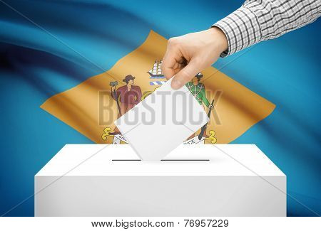 Voting Concept - Ballot Box With National Flag On Background - Delaware