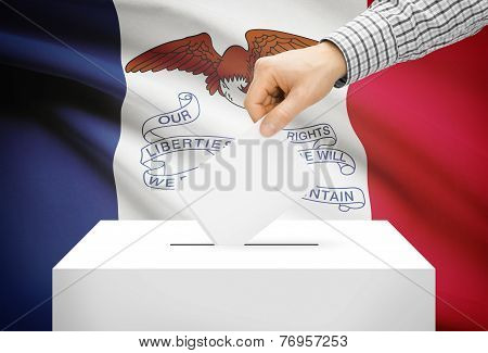Voting Concept - Ballot Box With National Flag On Background - Iowa