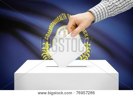 Voting Concept - Ballot Box With National Flag On Background - Kentucky