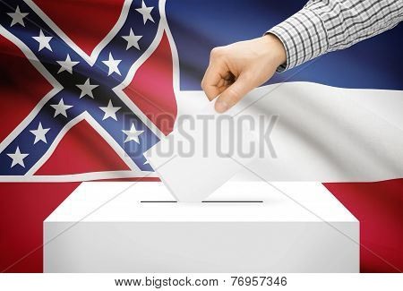 Voting Concept - Ballot Box With National Flag On Background - Mississippi