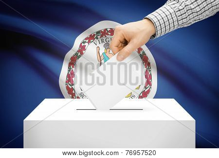 Voting Concept - Ballot Box With National Flag On Background - Virginia