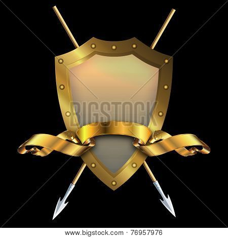 Gold Shield With Two Spears And Gold Ribbon.