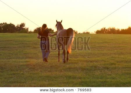 Girl, horse and sunset