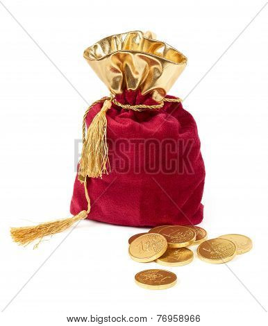 Red Sack And Euro Chocolate Coins