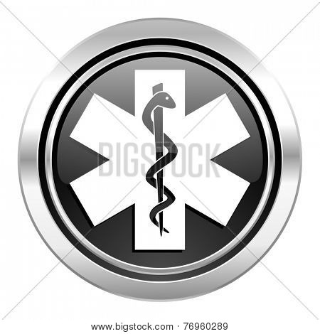 emergency icon, black chrome button, hospital sign