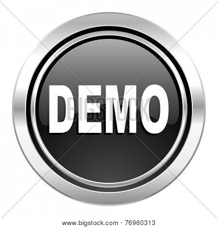 demo icon, black chrome button