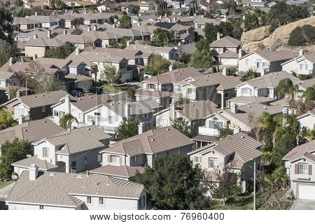 Typical modern suburban housing near sunny Los Angeles California.