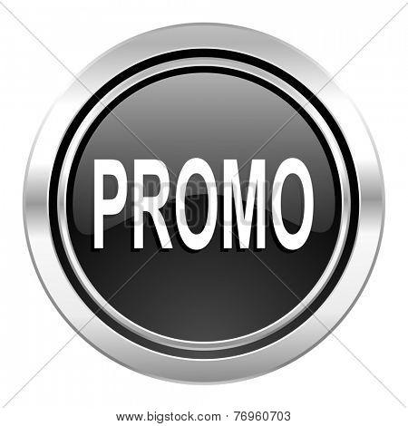 promo icon, black chrome button