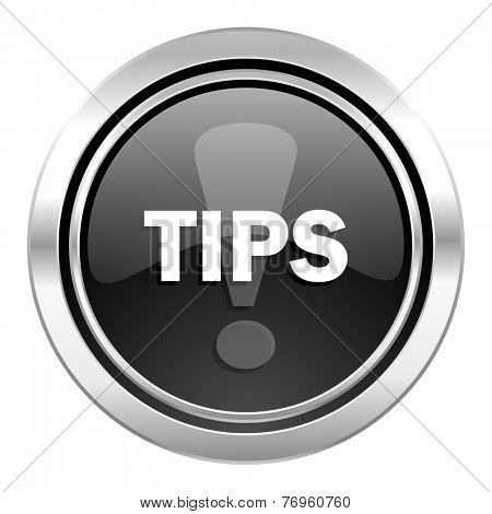 tips icon, black chrome button