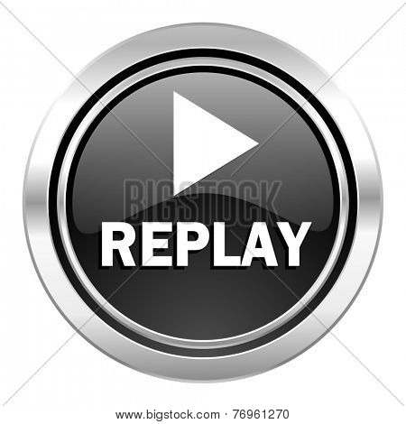 replay icon, black chrome button