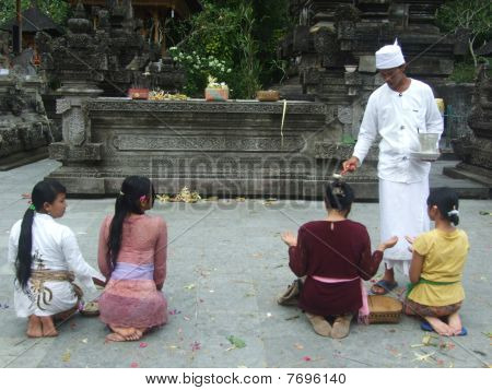 Bali priest blessing