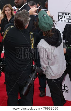 LOS ANGELES - NOV 23:  Kevin Mazur, Jaden Smith at the 2014 American Music Awards - Arrivals at the Nokia Theater on November 23, 2014 in Los Angeles, CA