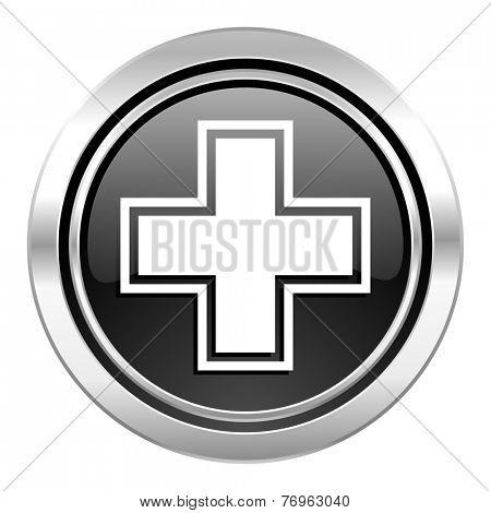 pharmacy icon, black chrome button