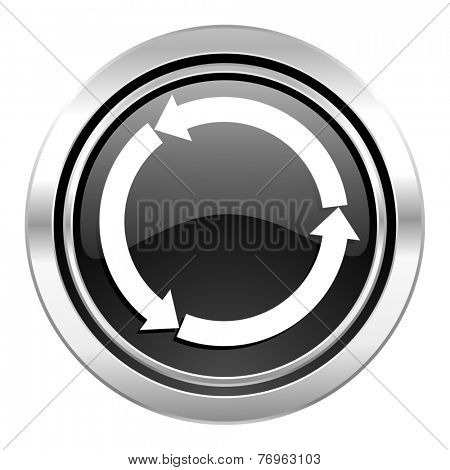 refresh icon, black chrome button, reload icon, black chrome button