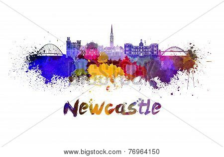 Newcastle Skyline In Watercolor
