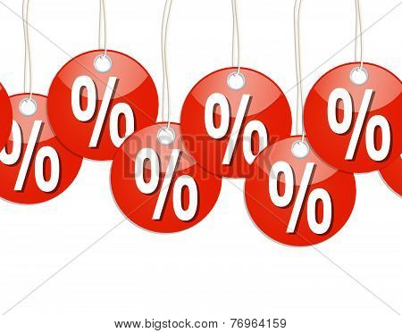 Red Round Pendants With % Signs - Endless