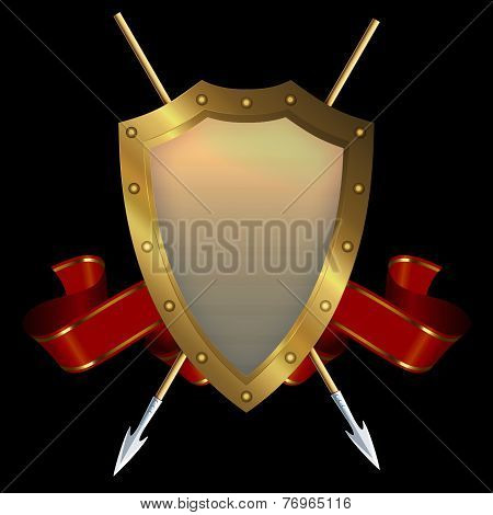 Gold Shield With Two Spears And Red Ribbon.
