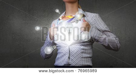 Young woman tearing shirt on chest. Idea concept