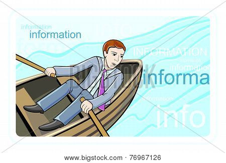 Busines man sitting in boat and sailing on river