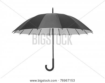 Open black umbrella isolated on white with clipping path