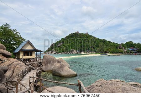 Tropical Paradise - Lagon And White Sand Beach At A Small Island With Stunning Green Hills At The Ba