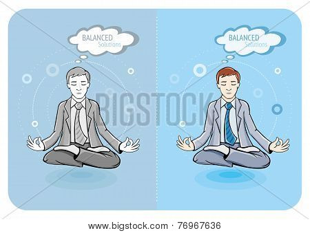 Successful businessman doing yoga
