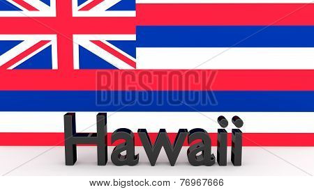 Us State Hawaii, Metal Name In Front Of Flag