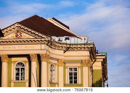 The Detail Of The Famous Estates Theatre In Prague