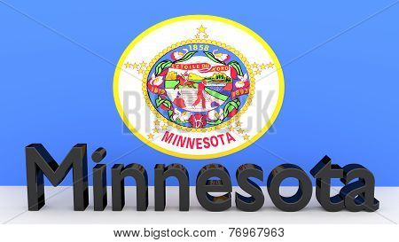 Us State Minnesota, Metal Name In Front Of Flag