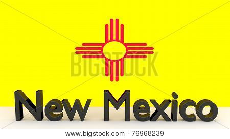 Us State New Mexico, Metal Name In Front Of Flag