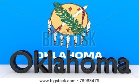 Us State Oklahoma, Metal Name In Front Of Flag