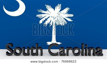 Us State South Carolina, Metal Name In Front Of Flag