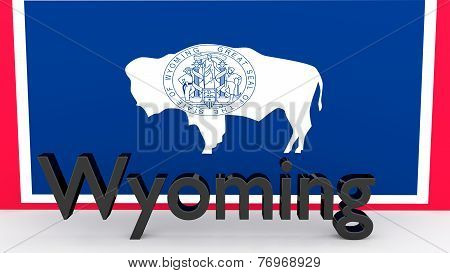 Us State Wyoming, Metal Name In Front Of Flag