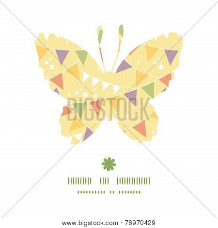 Vector party decorations bunting butterfly silhouette pattern frame