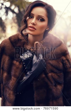 Sexy Beautiful Woman With Dark Hair In Luxurious Fur Coat Posing At Park